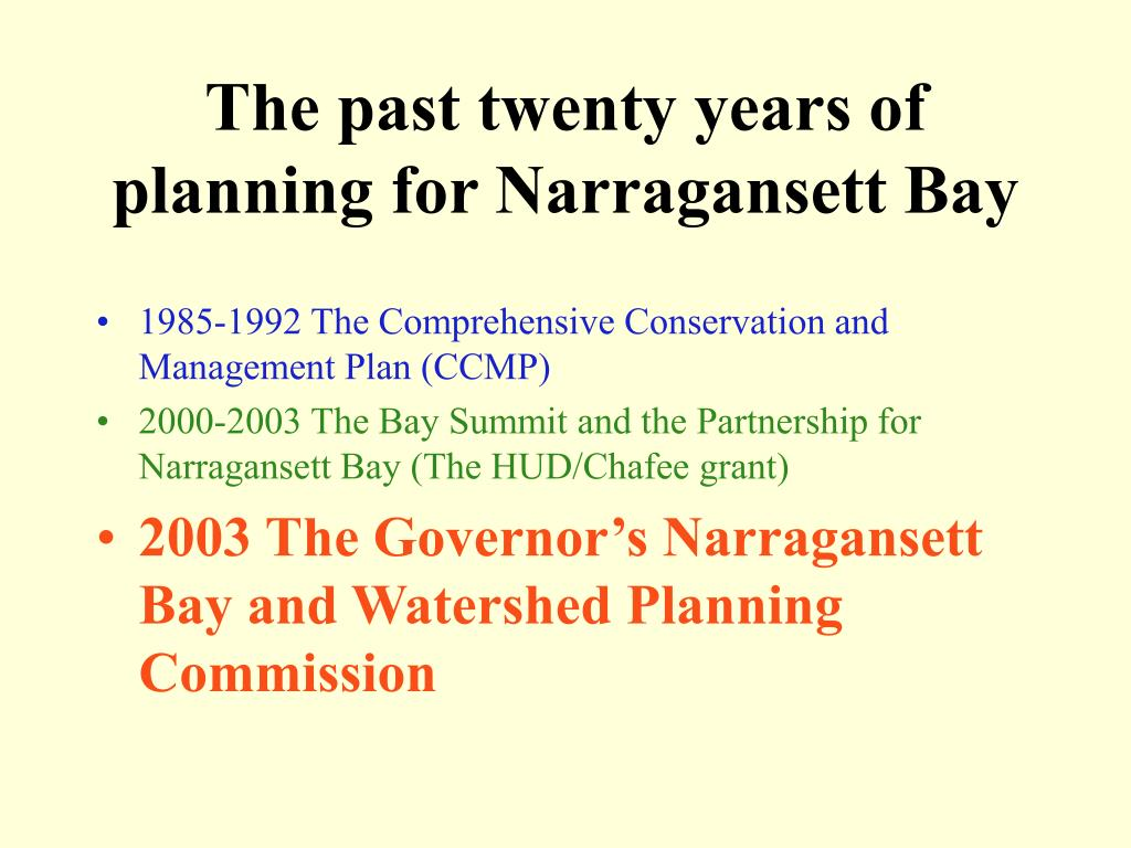 The past twenty years of planning for Narragansett Bay