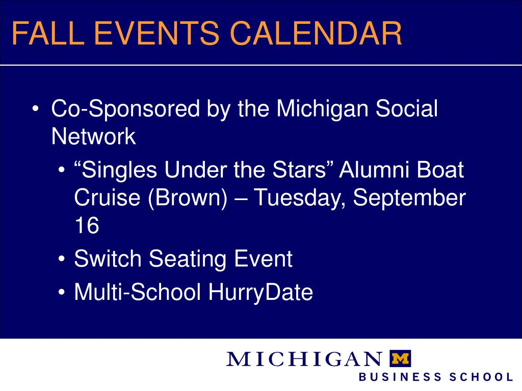 FALL EVENTS CALENDAR