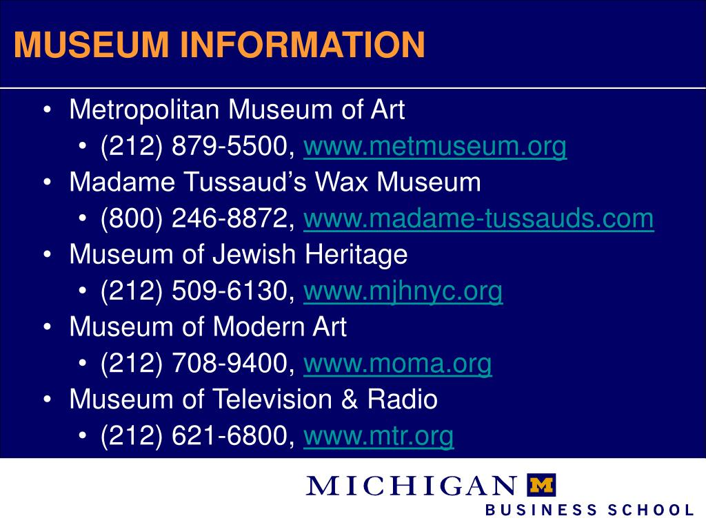 MUSEUM INFORMATION