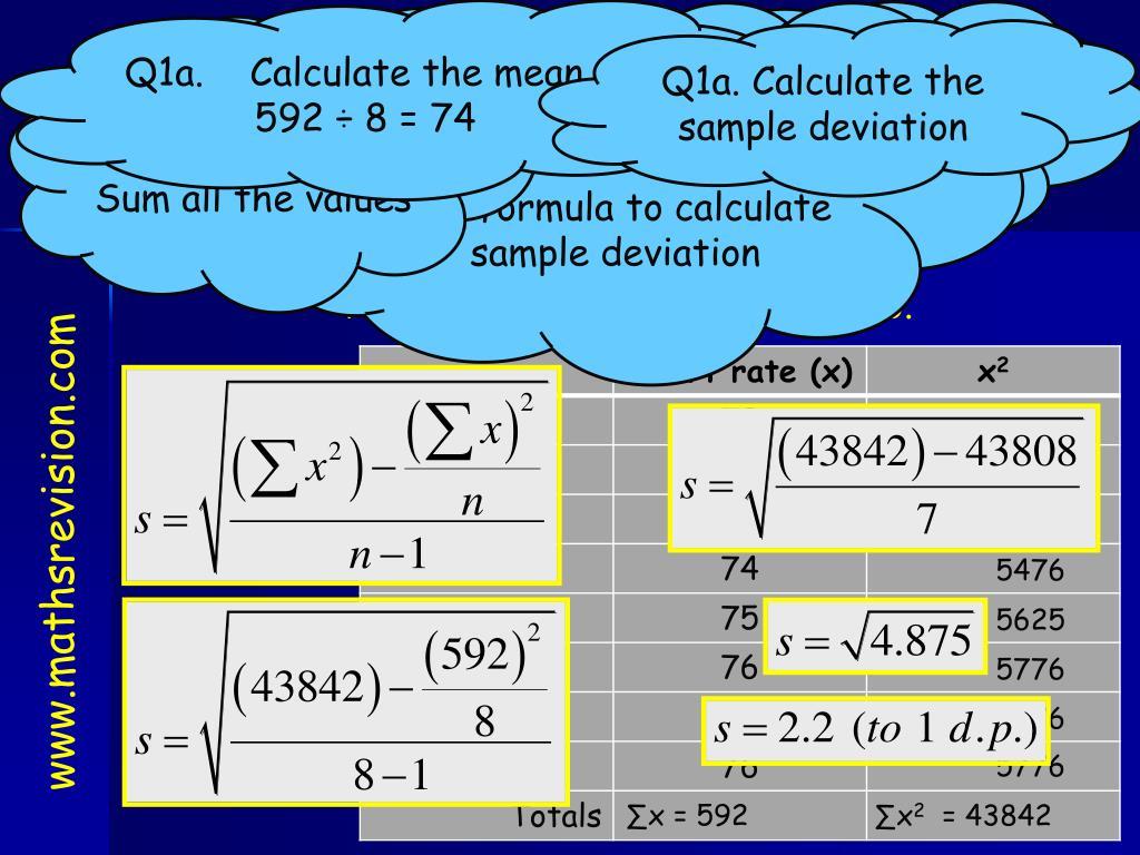 Q1a. Calculate the mean :