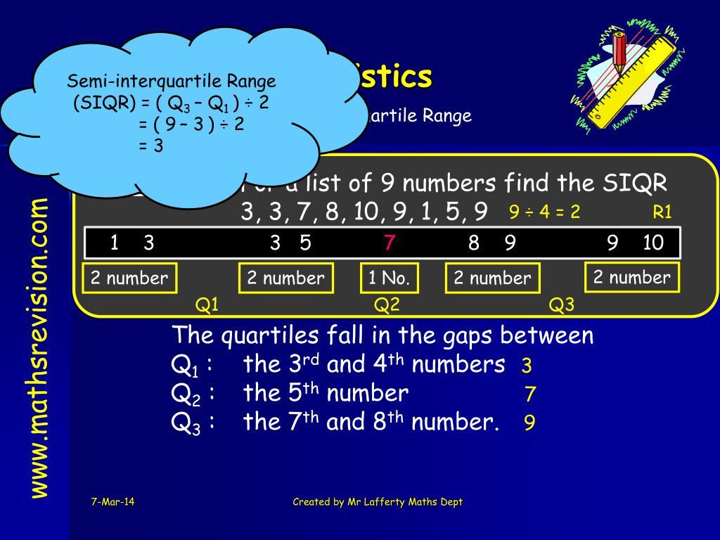 Semi-interquartile Range (SIQR) = ( Q