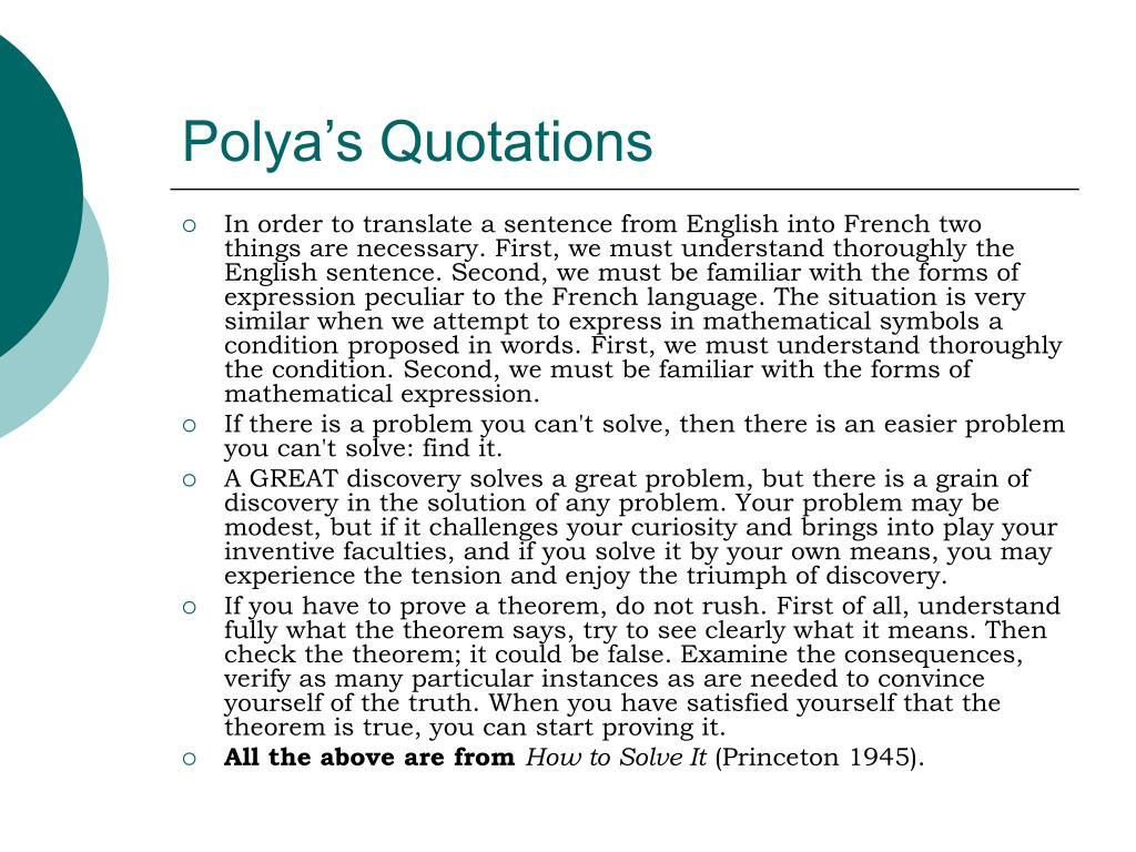 Polya's Quotations
