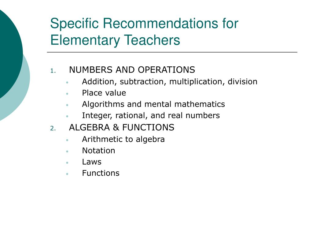 Specific Recommendations for Elementary Teachers