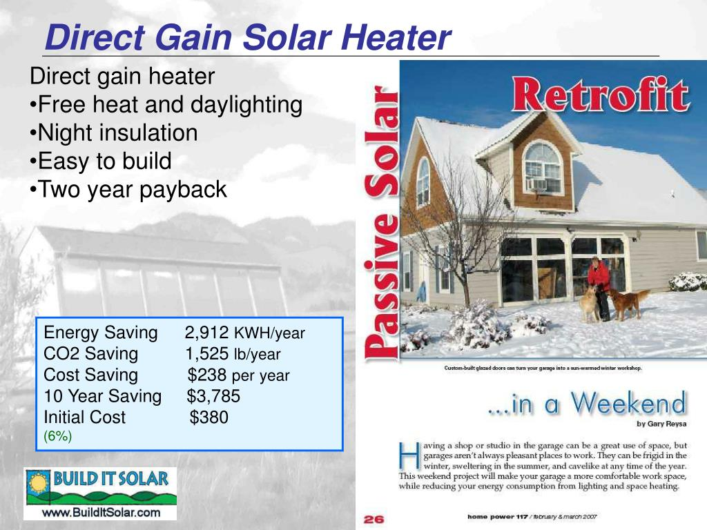 Direct Gain Solar Heater