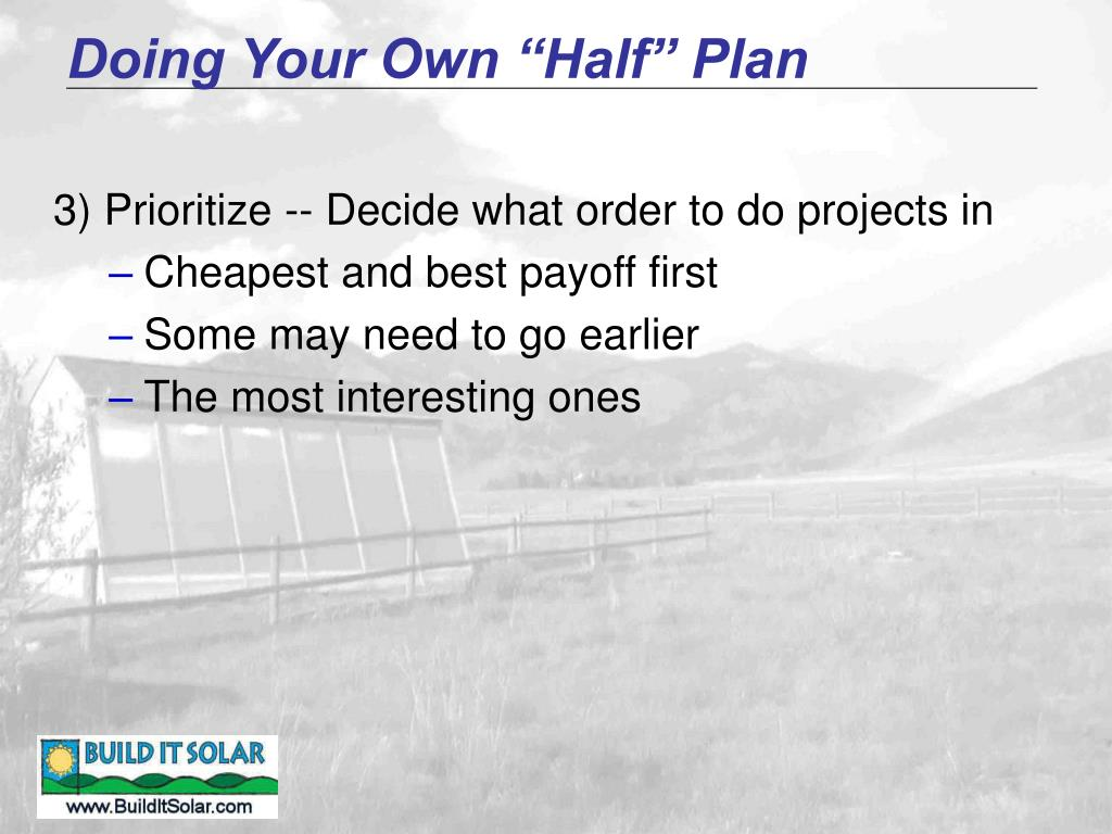 "Doing Your Own ""Half"" Plan"