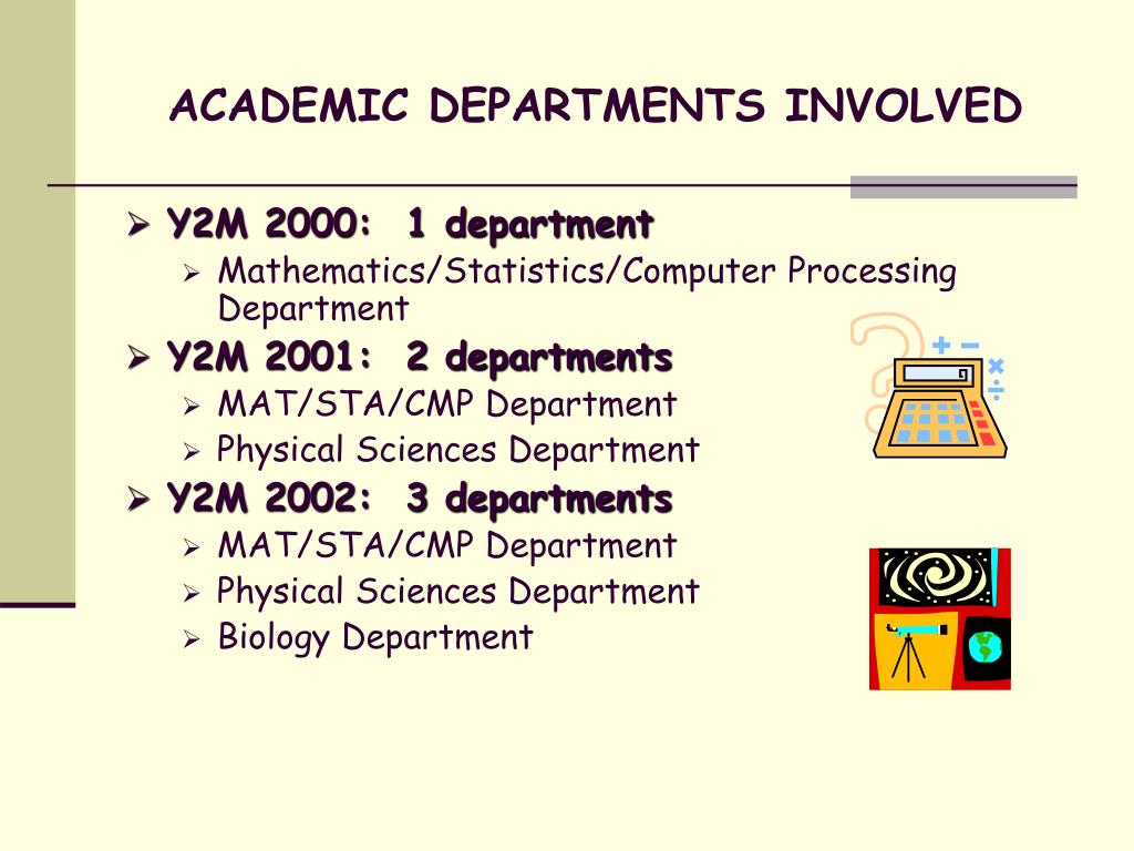 ACADEMIC DEPARTMENTS INVOLVED