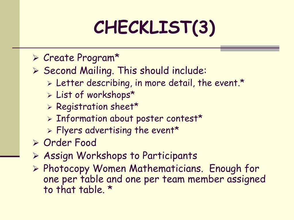 CHECKLIST(3)