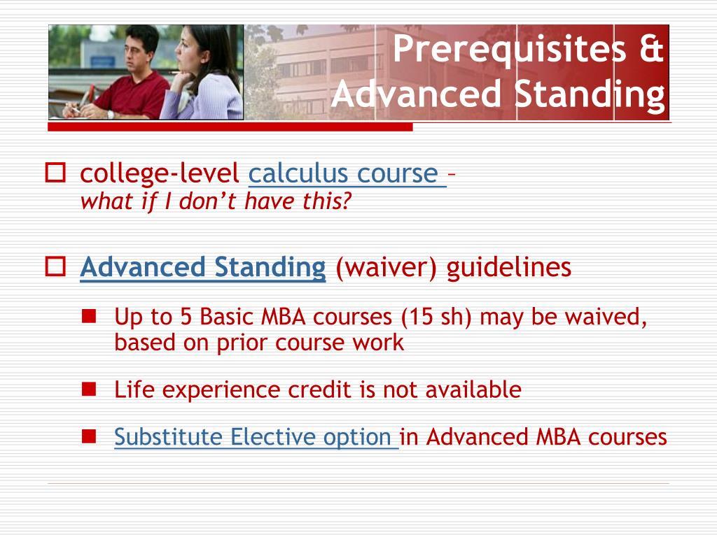 Prerequisites & Advanced Standing