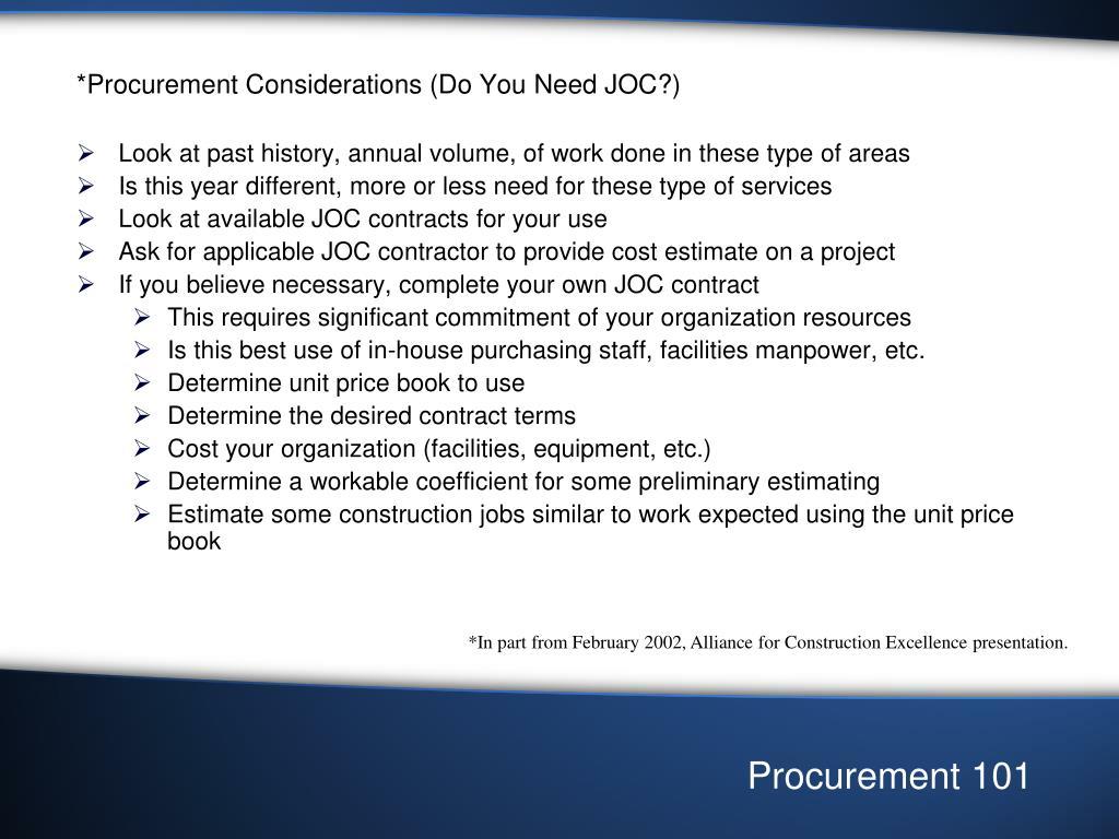 *Procurement Considerations (Do You Need JOC?)