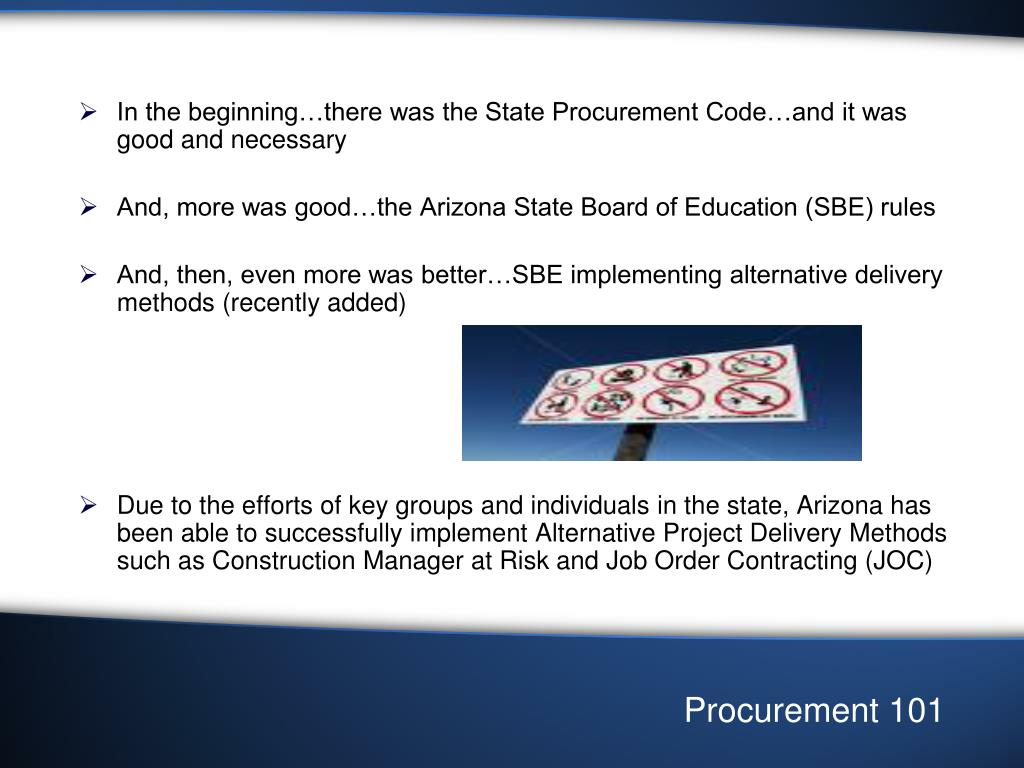 In the beginning…there was the State Procurement Code…and it was good and necessary