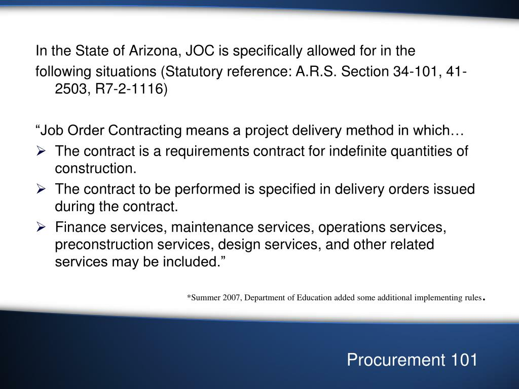 In the State of Arizona, JOC is specifically allowed for in the