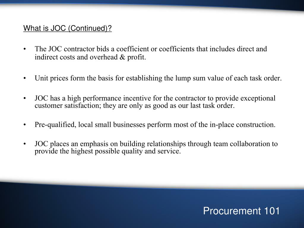What is JOC (Continued)?