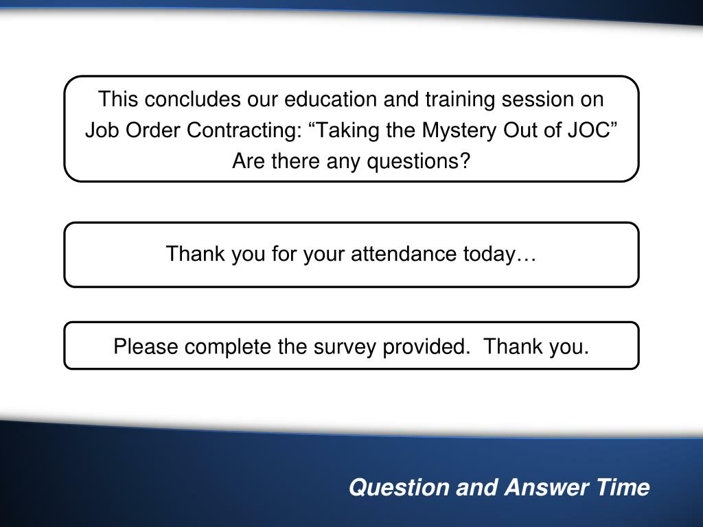 This concludes our education and training session on