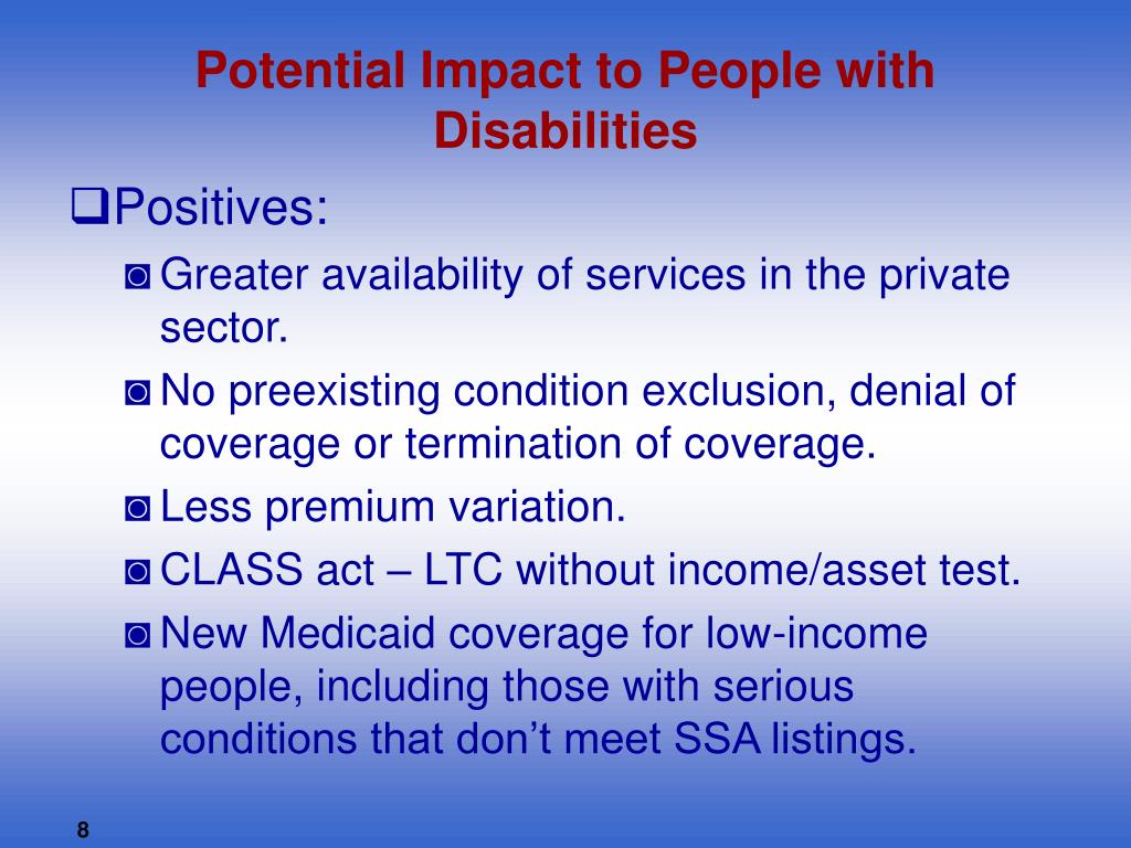 Potential Impact to People with Disabilities