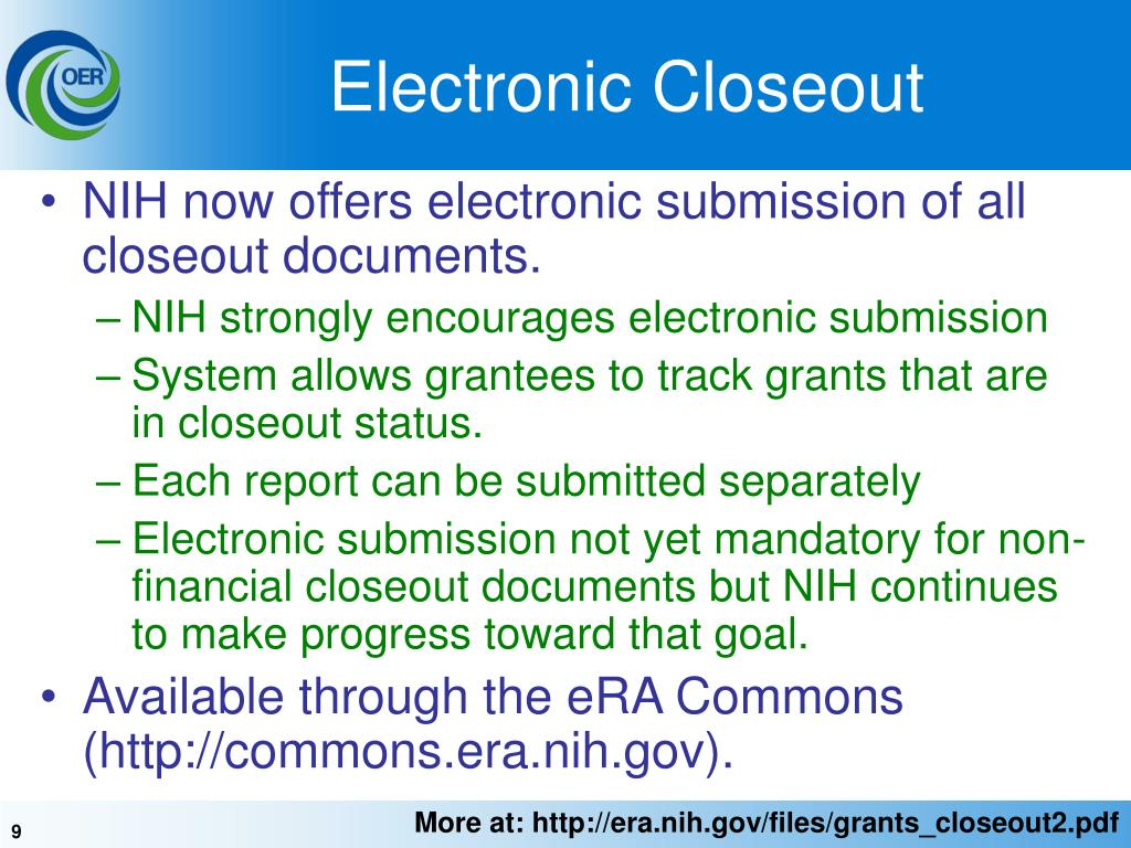 PPT Closeout of NIH Grants PowerPoint Presentation ID