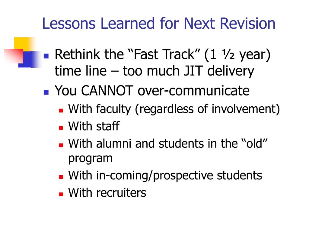 Lessons Learned for Next Revision