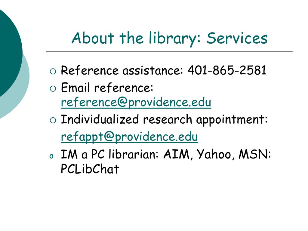 About the library: Services
