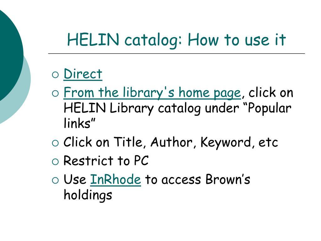HELIN catalog: How to use it