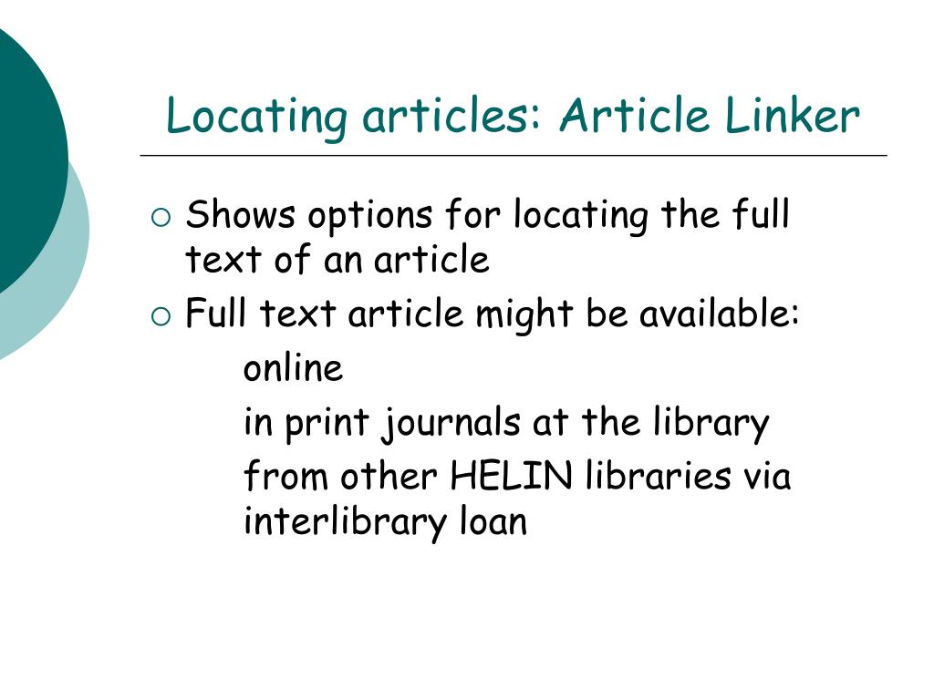 Locating articles: Article Linker