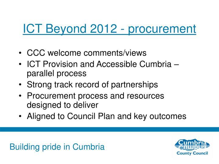 ICT Beyond 2012 - procurement