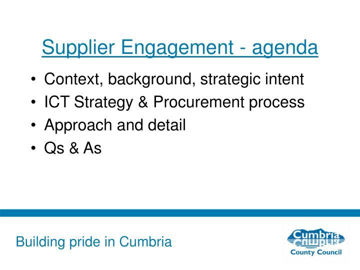 Supplier Engagement - agenda