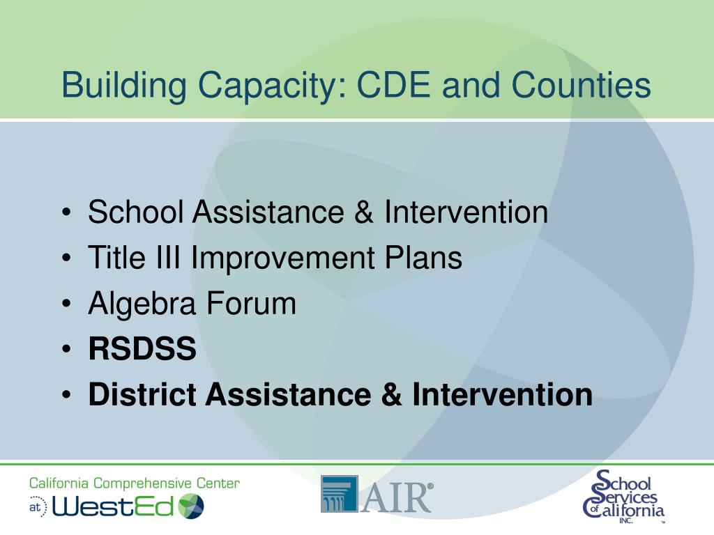 Building Capacity: CDE and Counties
