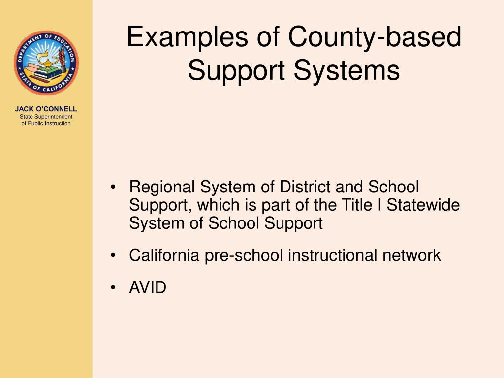 Examples of County-based Support Systems