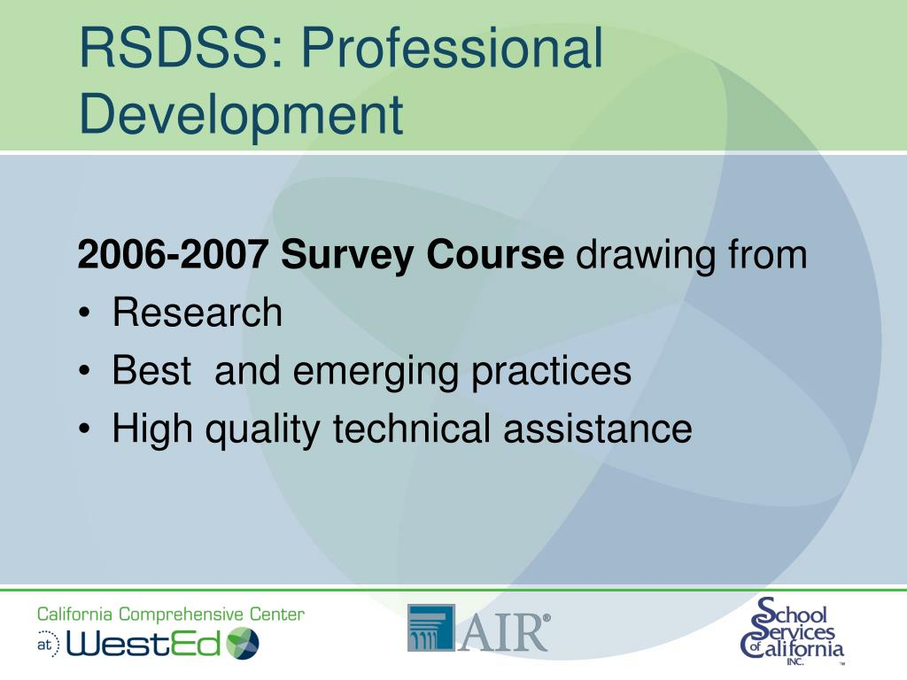 RSDSS: Professional Development
