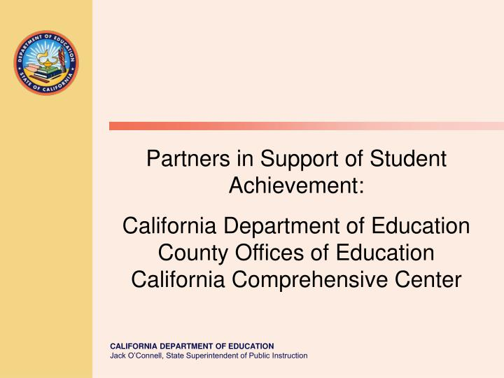 Partners in Support of Student Achievement: