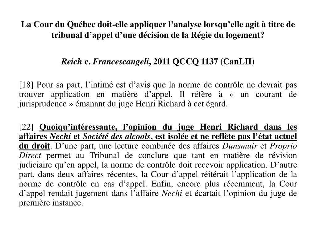 La Cour du Québec doit-elle appliquer l'