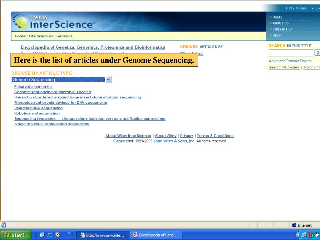 Here is the list of articles under Genome Sequencing.