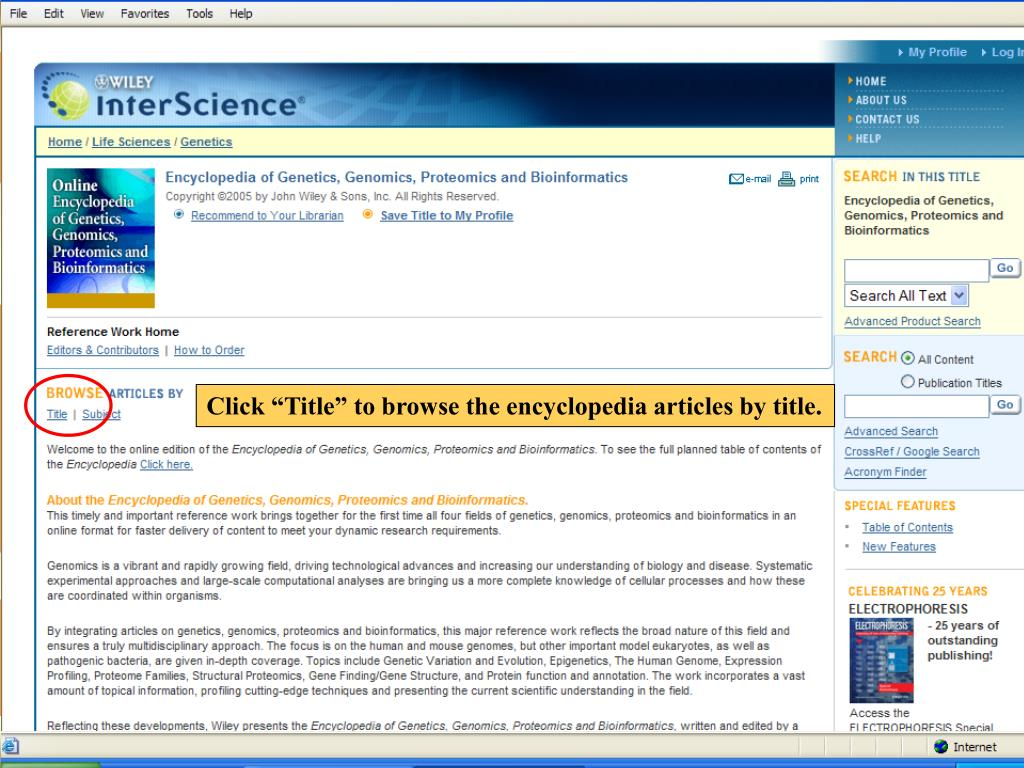 "Click ""Title"" to browse the encyclopedia articles by title."