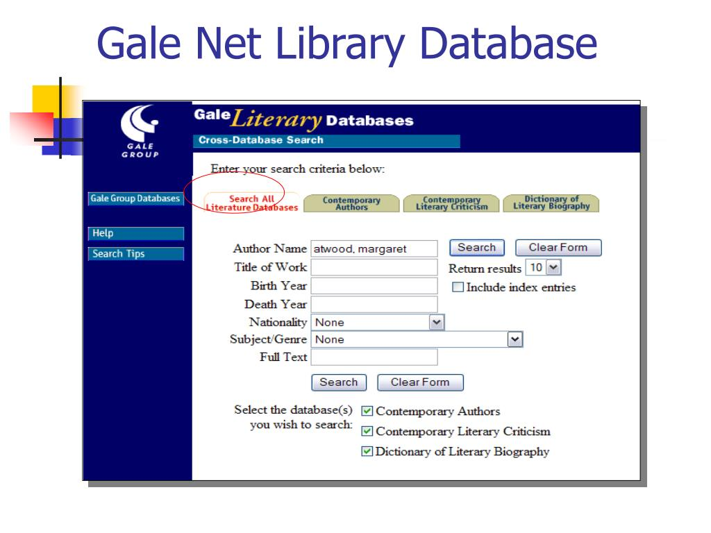 Gale Net Library Database