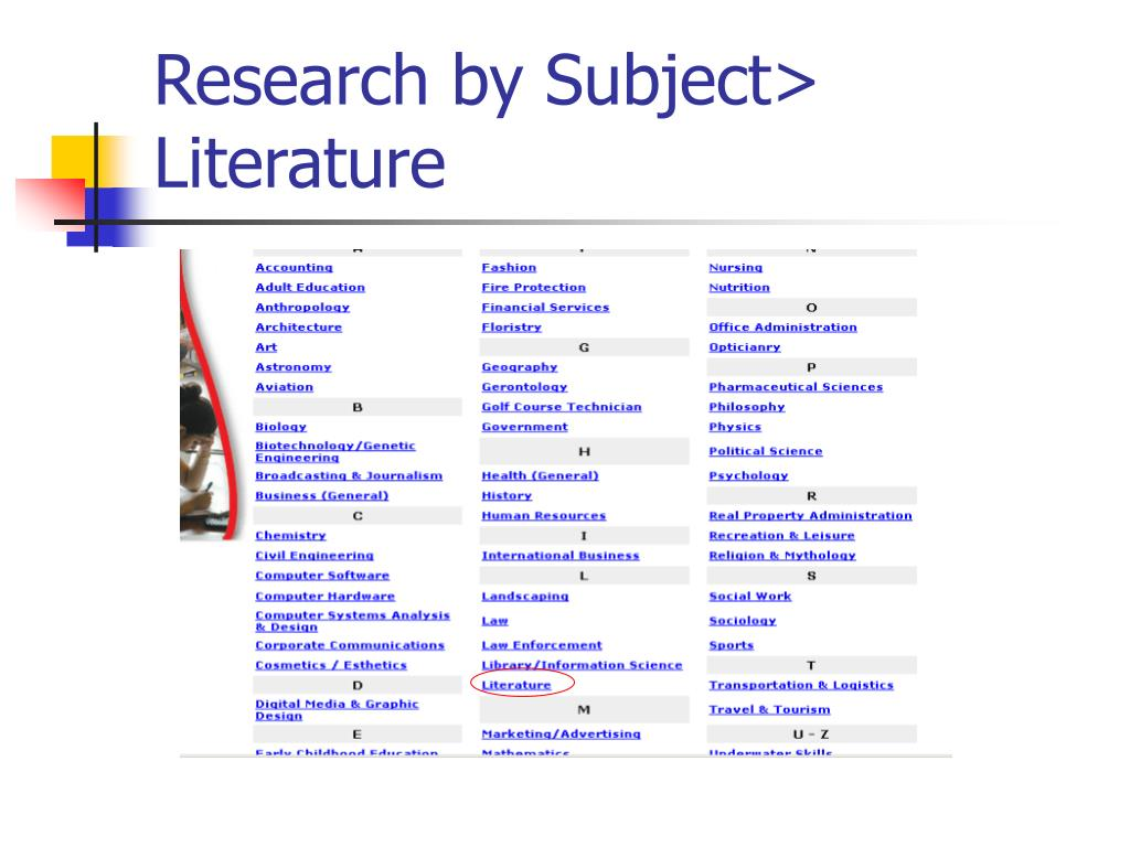 Research by Subject> Literature