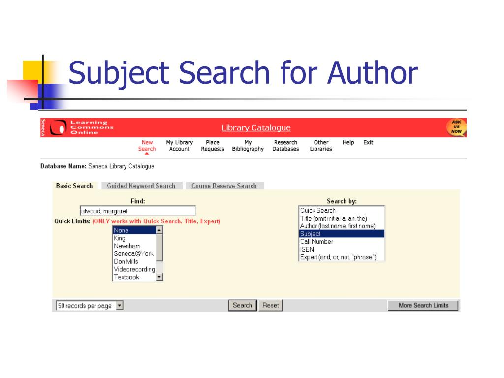 Subject Search for Author