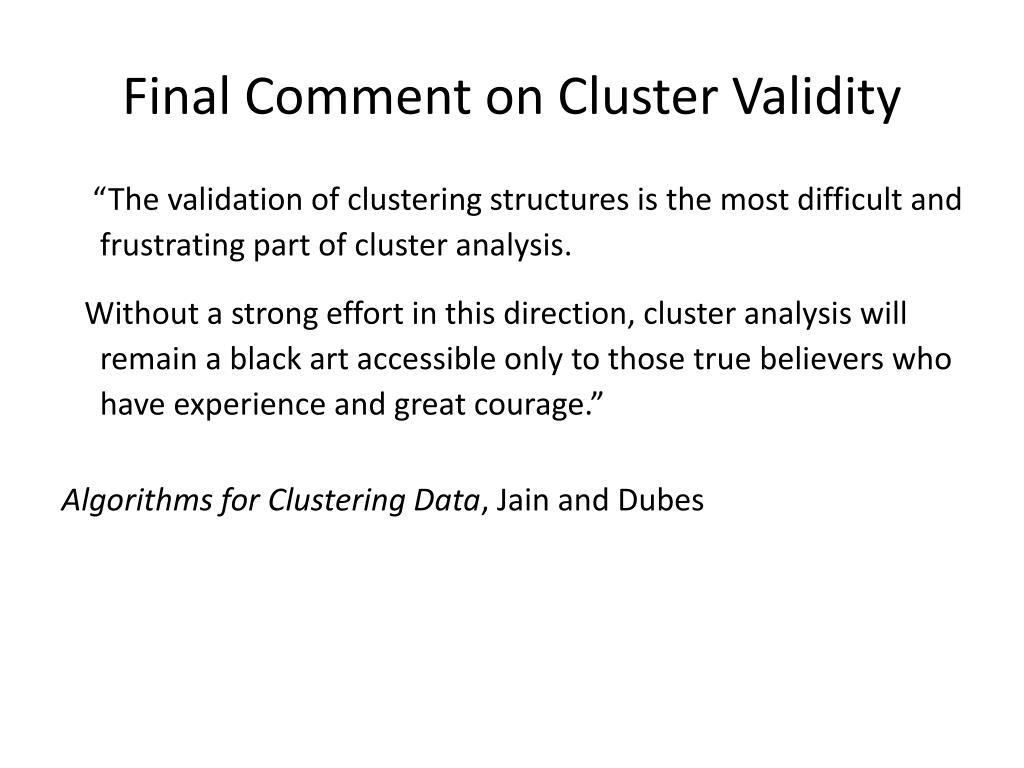 Final Comment on Cluster Validity
