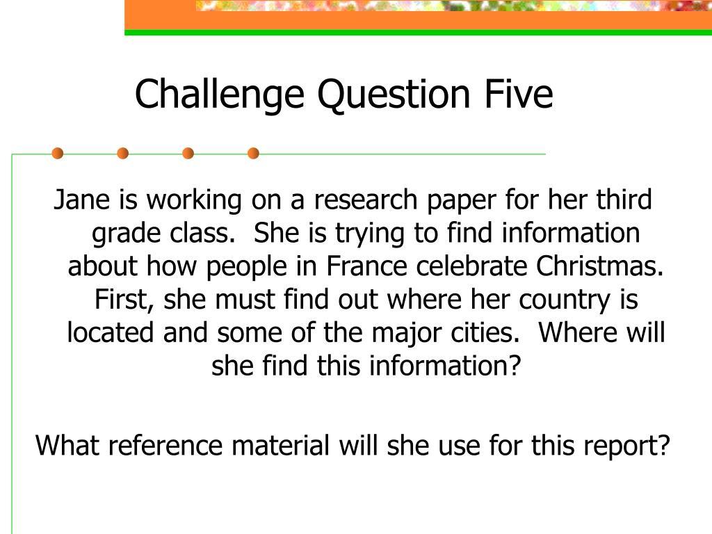 Challenge Question Five
