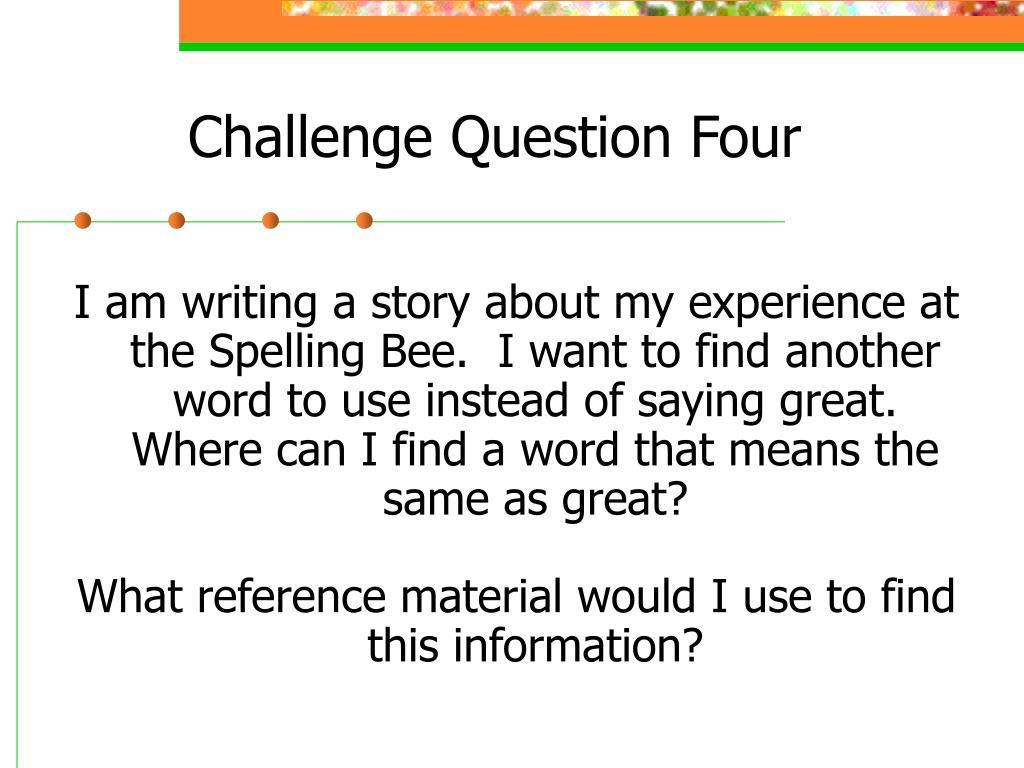 Challenge Question Four