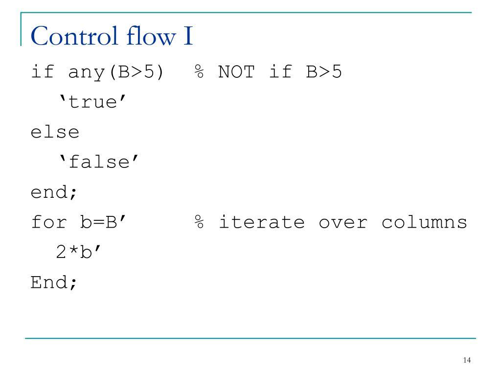 Control flow I