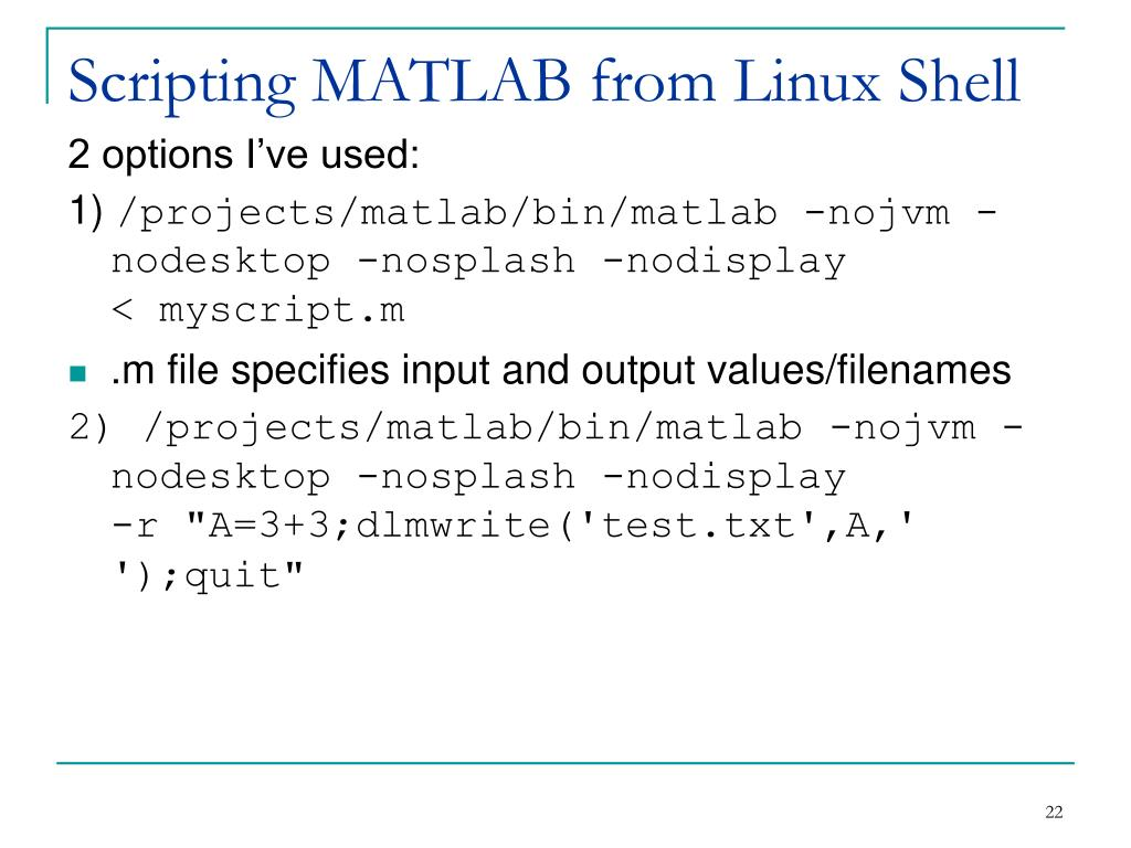 Scripting MATLAB from Linux Shell