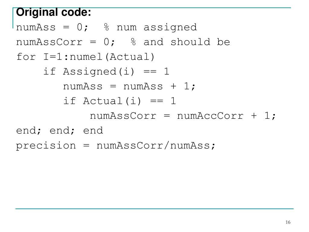 Original code: