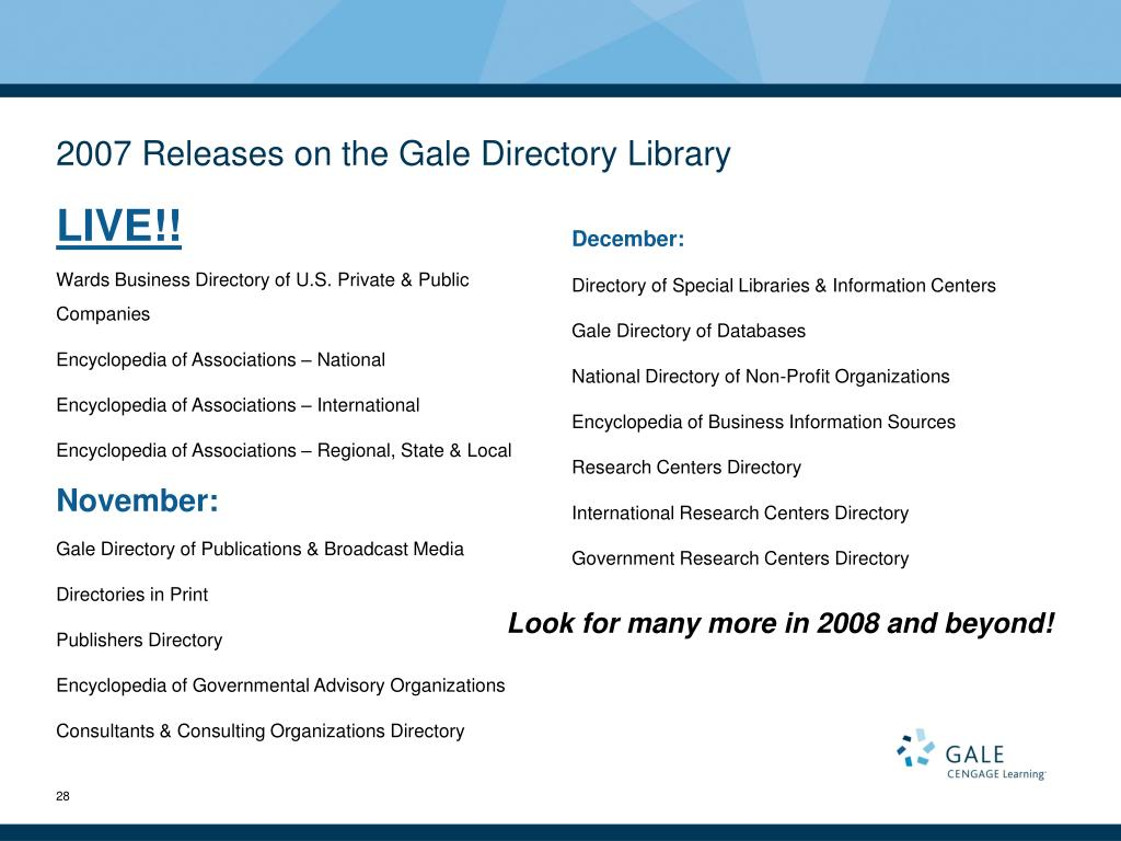 2007 Releases on the Gale Directory Library
