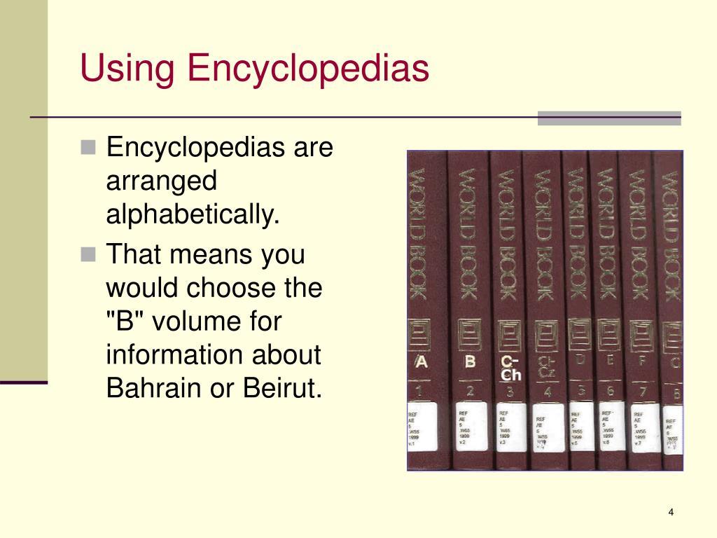 Using Encyclopedias
