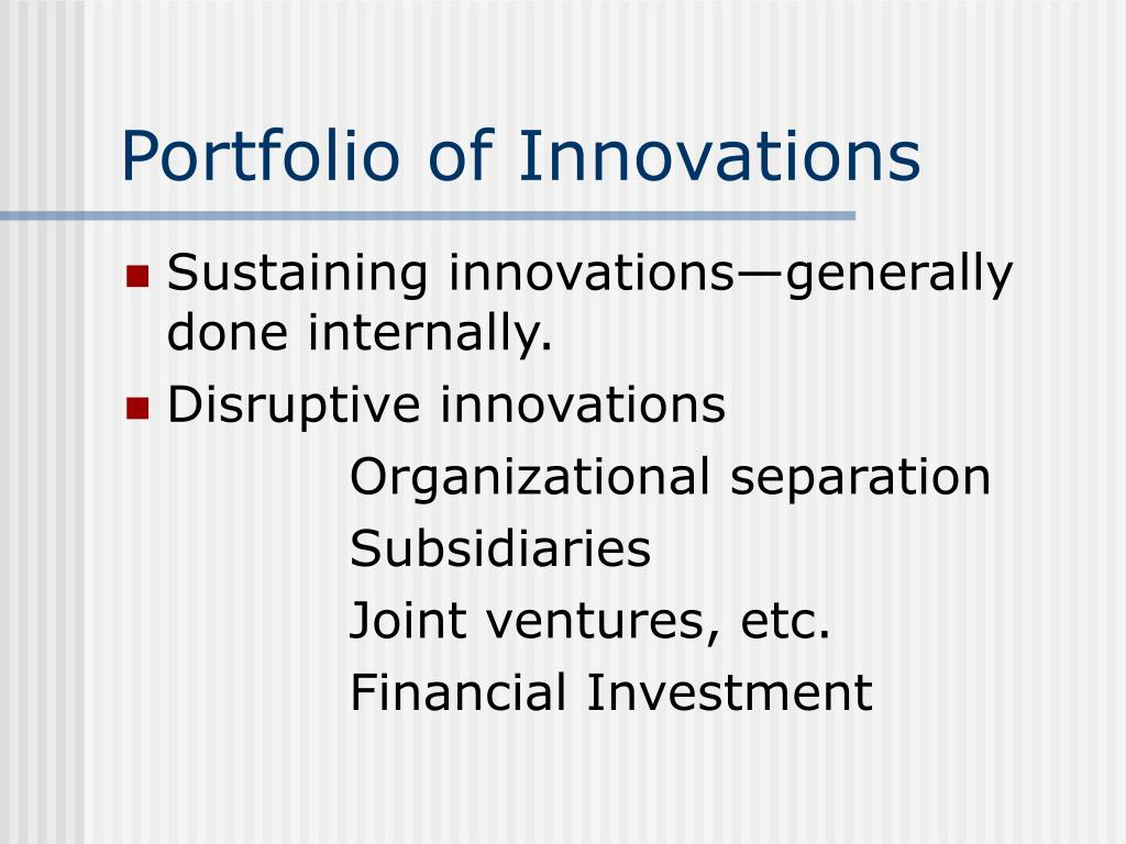 Portfolio of Innovations