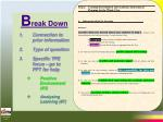 b reak down