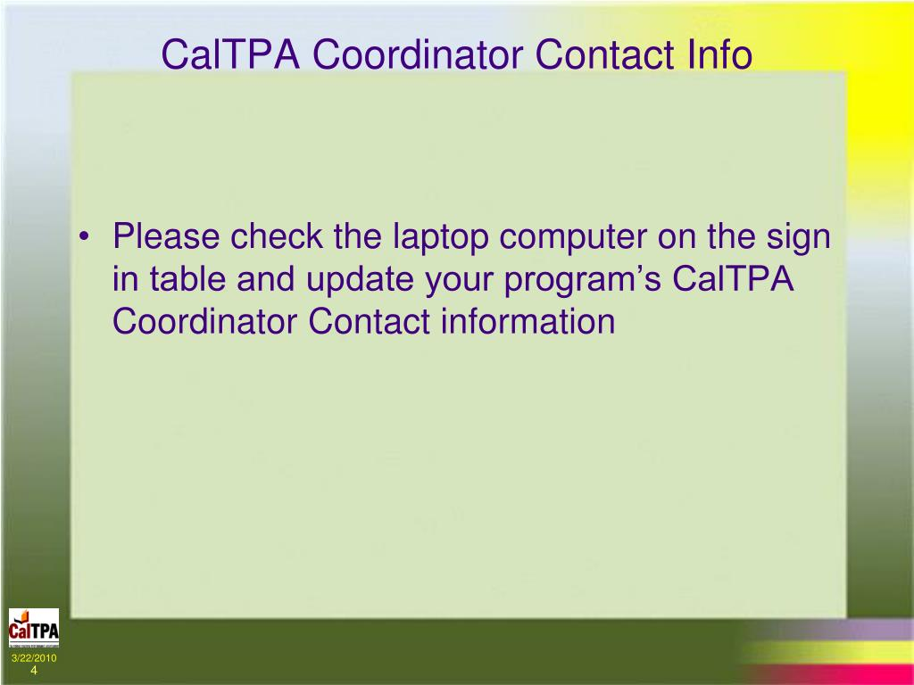 CalTPA Coordinator Contact Info