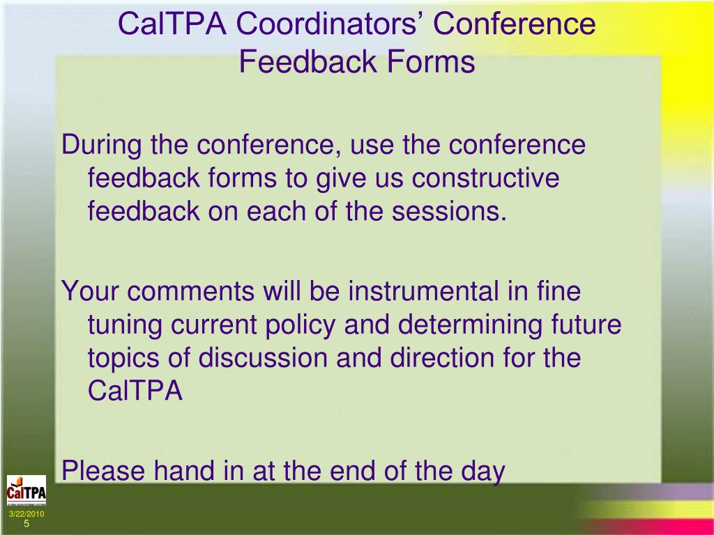 CalTPA Coordinators' Conference Feedback Forms