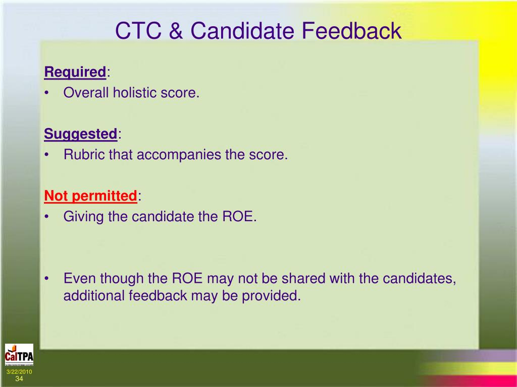 CTC & Candidate Feedback
