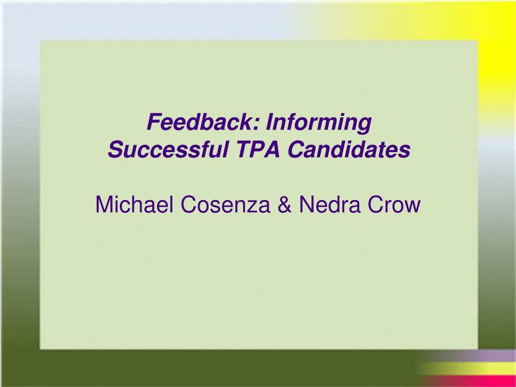 Feedback: Informing