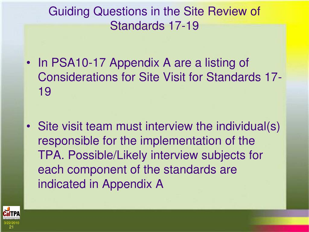 Guiding Questions in the Site Review of Standards 17-19